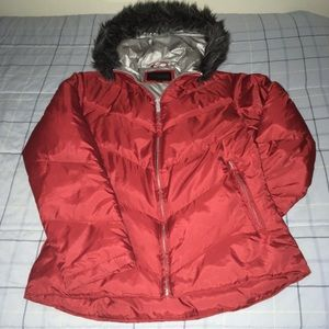 Red express puffy coat